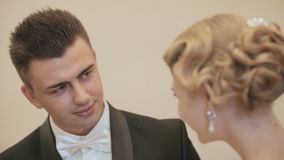 The bride and groom before a wedding procedure stock video footage