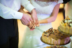 Bride and Groom at Wedding Reception Cutting Stock Photo