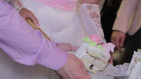 Bride and Groom at Wedding Reception Cutting the stock footage