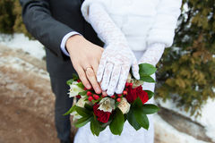 The bride and groom with wedding rings Royalty Free Stock Photo