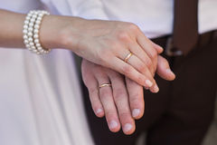 Bride and groom with wedding rings on their hands, male and female hand with wedding rings stock photo