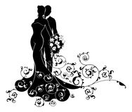 Bride and Groom Wedding Silhouette. A bride and groom wedding couple in silhouette. The bride in a bridal dress gown flowing into an abstract floral pattern Royalty Free Stock Images