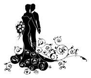 Bride and Groom Wedding Silhouette. A bride and groom wedding couple in silhouette with the bride in a bridal dress gown holding a floral bouquet of flowers and Stock Photo