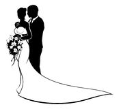 Bride and Groom Wedding Silhouette Couple. Wedding design of bride and groom couple in silhouette, in a white bridal dress gown holding a floral bouquet of Royalty Free Stock Photo