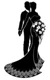 Bride and Groom Wedding Silhouette. A bride and groom couple silhouette wedding illustration, the bride in a bridal dress gown with abstract floral pattern Royalty Free Stock Photo