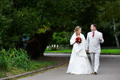 Bride and groom on wedding walk Stock Photos