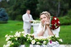 Bride and groom at wedding walk Stock Photo
