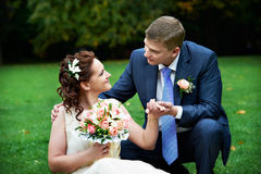 Bride and groom at wedding walk royalty free stock photography