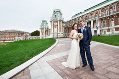 Bride and groom at a wedding a walk Stock Photography