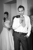 Bride and groom on the wedding walk in the modern hotel hall Royalty Free Stock Photo