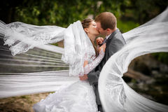 Bride and groom on the wedding walk Royalty Free Stock Photography