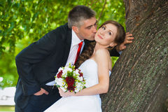 Bride and groom. The bride and groom at a wedding a walk in the park Stock Photography
