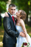 Bride and groom. The bride and groom at a wedding a walk in the park Royalty Free Stock Photos