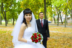Bride and groom at the wedding walk Royalty Free Stock Images