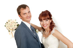 Bride and groom. On a white background Stock Photography