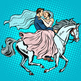 Bride and groom white horse love wedding romance Royalty Free Stock Image