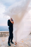 Bride and groom in the wind Stock Photos