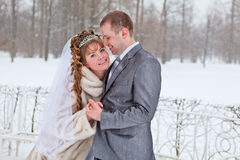 Bride and groom in winter season Stock Image