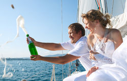 Bride and groom on a yacht Stock Image