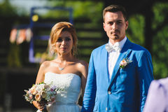 Bride and Groom at Yard. Bride and groom at sunny yard Stock Photo