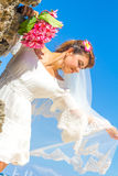 Bride and groom, young loving couple, on their wedding day, outd Stock Images