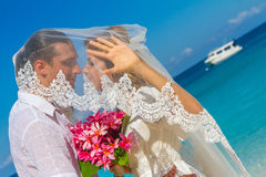 Bride and groom, young loving couple, on their wedding day, outd Stock Photo