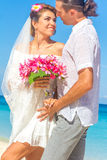 Bride and groom, young loving couple, on their wedding day, outd Stock Photography