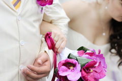 Bride and grooms holding hands Royalty Free Stock Image