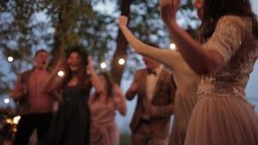 Bride guests dancing nature stock footage