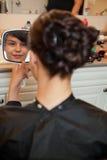 Bride at Hair Salon Stock Images
