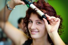 Bride at the hairdresser Royalty Free Stock Photo