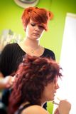Bride at the hairdresser Royalty Free Stock Photography