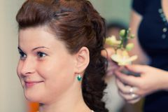 Bride at the hairdresser Stock Image