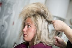 Bride at the hairdresser Stock Photography