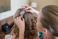 Bride at hairdressing royalty free stock images