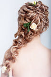 Bride hairstyle. Beautiful blond bride hairstyle photo in studio Stock Photo