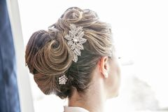 Bride hairstyle formal updo backview Royalty Free Stock Photo