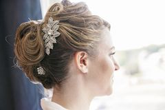 Bride hairstyle formal updo Stock Photo