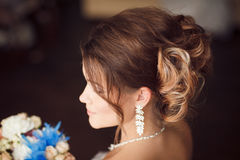 Bride hairstyle. Wedding. Perfect style Royalty Free Stock Photos