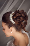 Bride hairstyle. Wedding. Perfect style Stock Photography