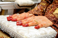Bride hand. Normal wedding ceremony and wedding customs in asia Royalty Free Stock Photos