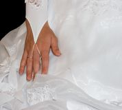 Bride hand. On black Stock Image