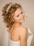 Bride with a hand near her shoulder Royalty Free Stock Photo