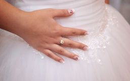 Bride hand with ring Royalty Free Stock Photos