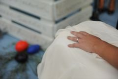 The bride hand with ring during her wedding Stock Photos