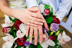 Bride hand with ring and wedding bouquet Royalty Free Stock Photos