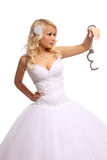 Bride in handcuffs. beautiful blonde young woman thinking isolated Stock Photos