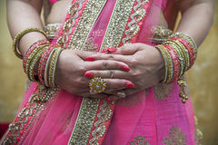 Bride. Hands of an Indian bride adorned with jewellery and bangles Stock Images