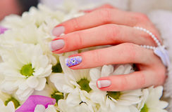Bride hands manicure Royalty Free Stock Photos