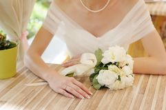 Bride hands with wedding ring Royalty Free Stock Photos